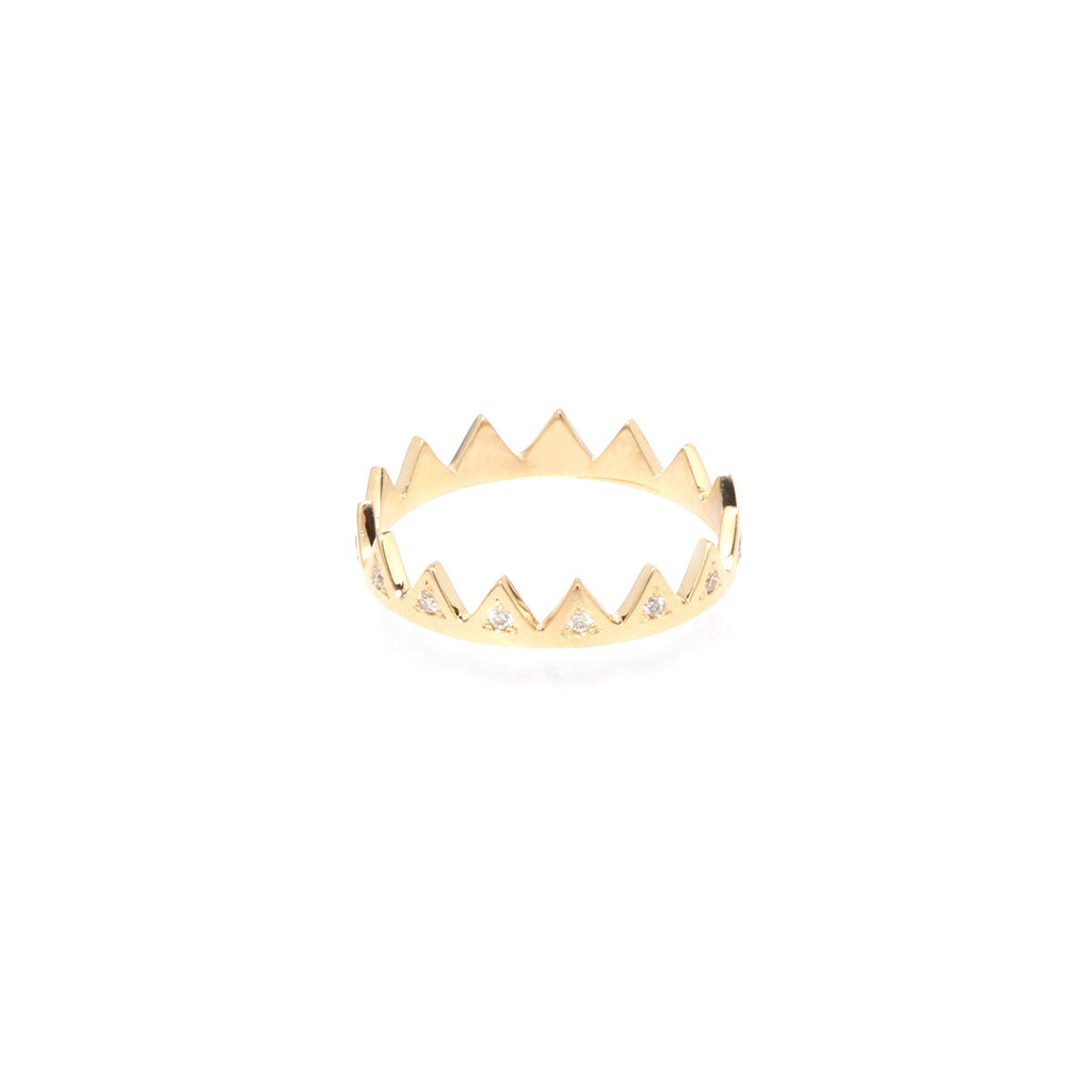 14k white diamond crown ring