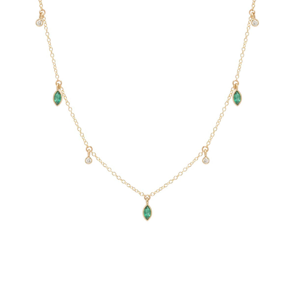 Zoë Chicco x Gemfields 14k dangling marquis emerald and diamond choker necklace