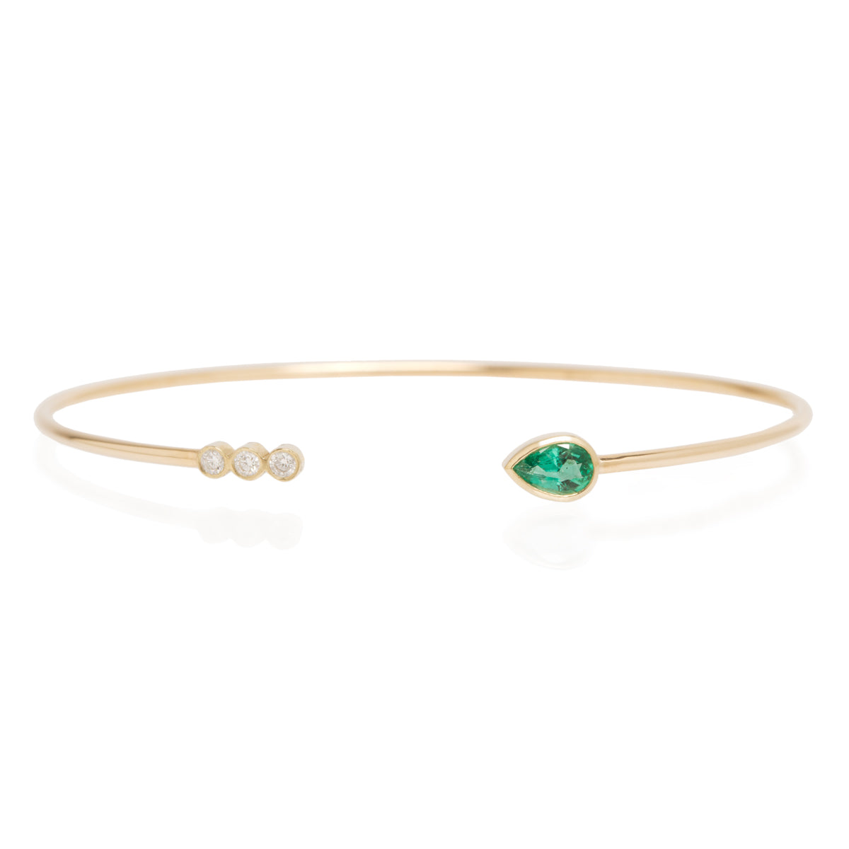 Zoë Chicco x Gemfields 14k emerald and 3 bezel diamond open cuff