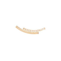 14k white pave staggered bar ear shield