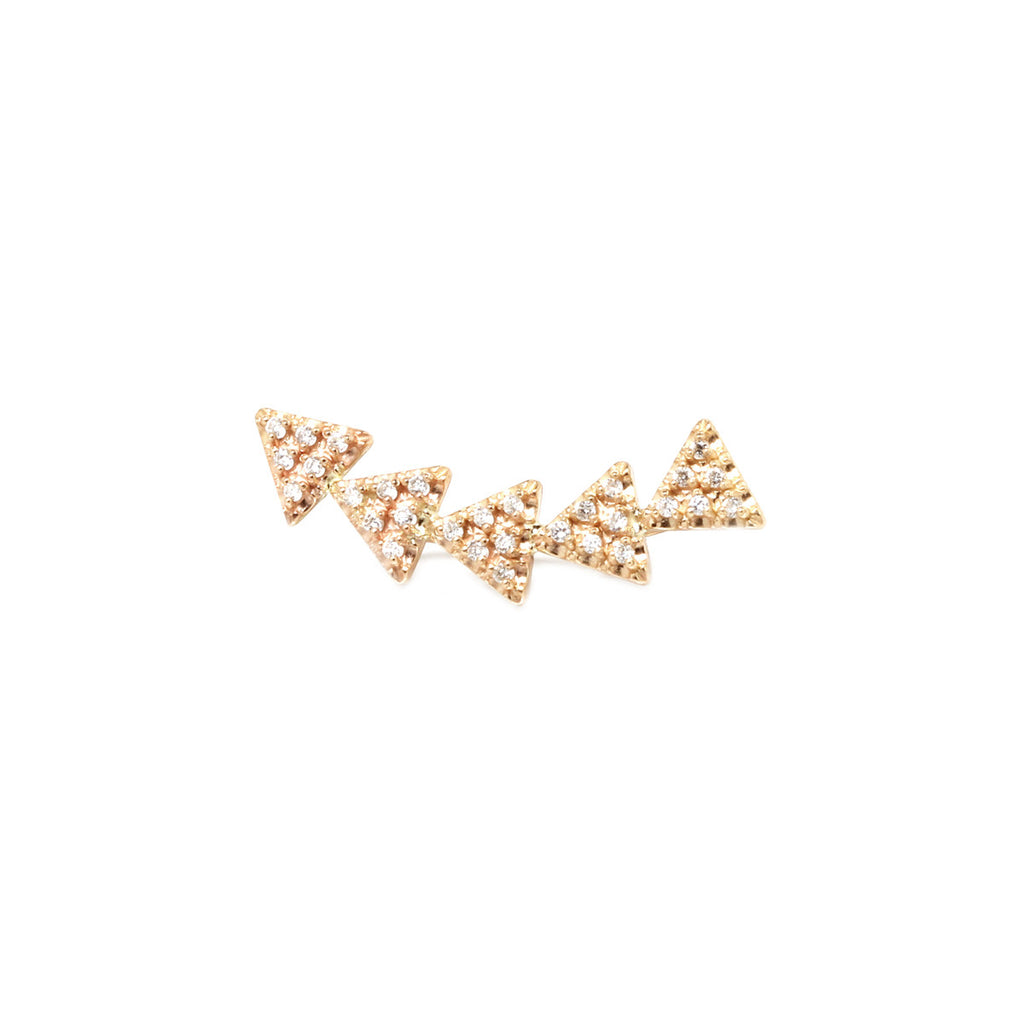 14k pave 5 triangle ear shield