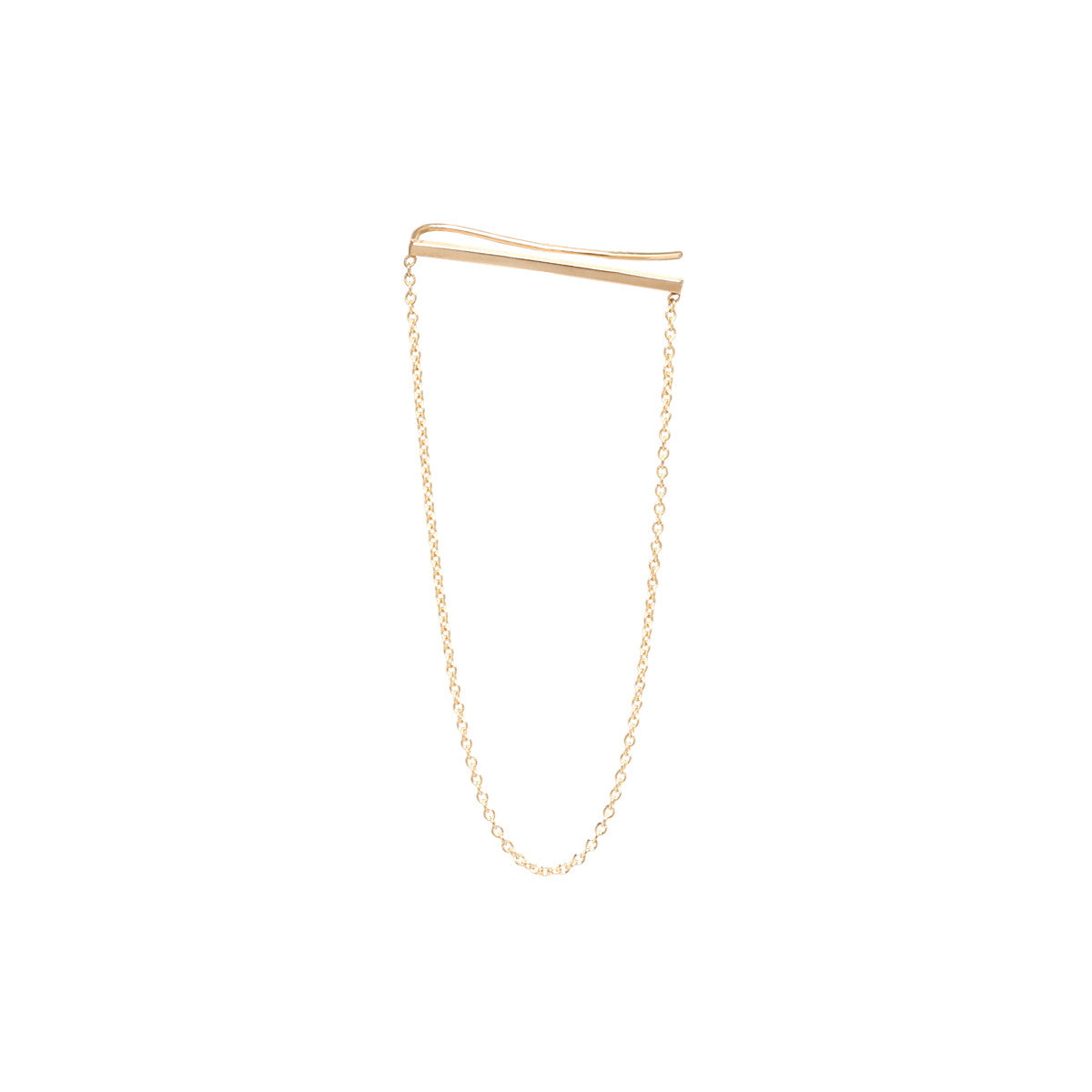 Zoë Chicco 14kt Yellow Gold Ear Shield With Hanging Chain Earring