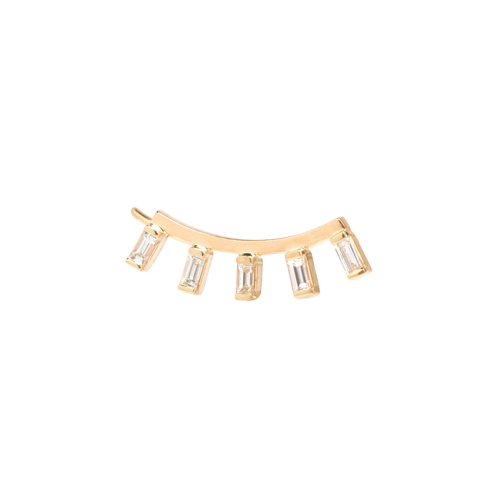 14k baguette diamond ear shield