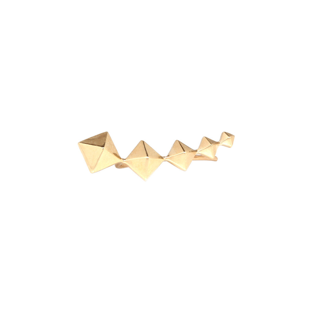 14k square pyramid ear shield