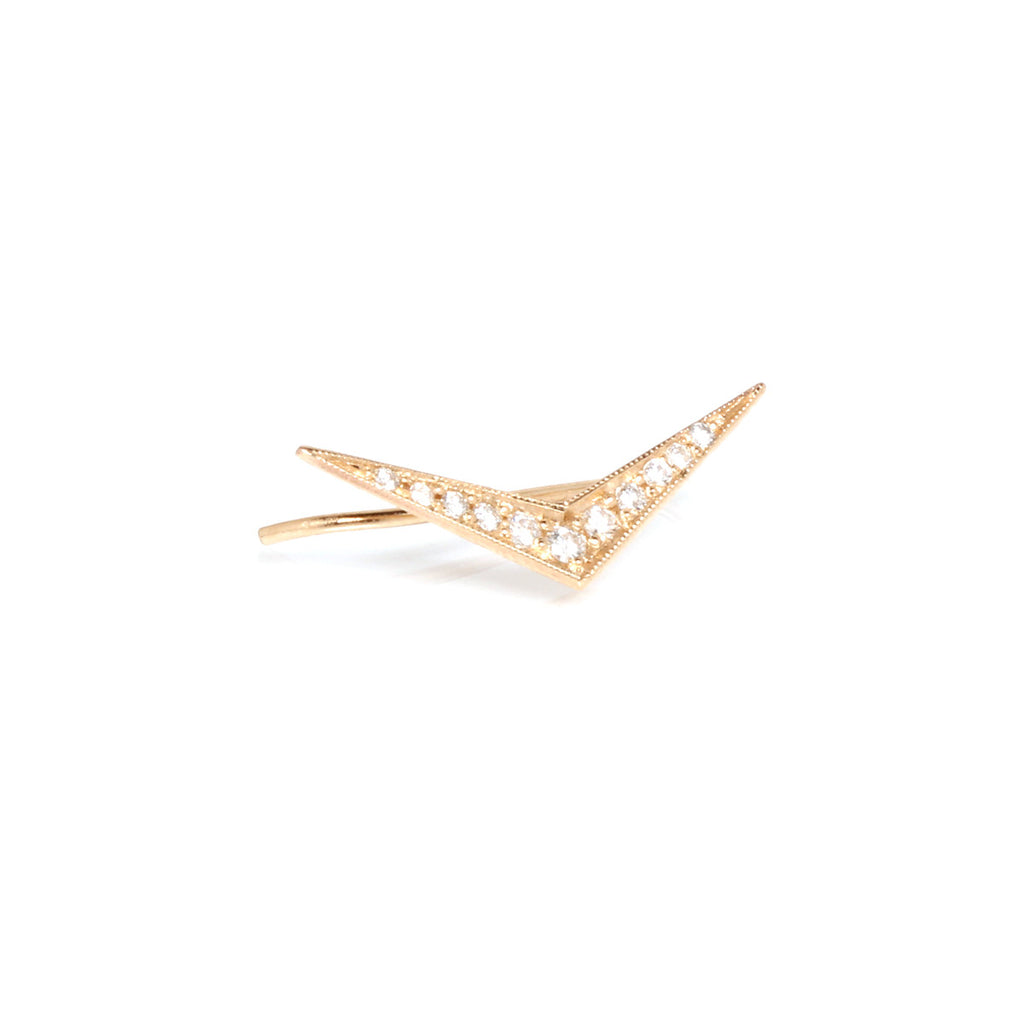 14k flat pave boomerang ear shield