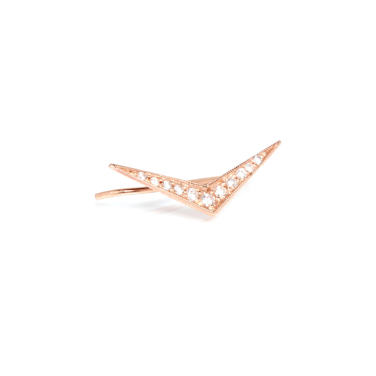 Zoë Chicco 14kt Rose Gold Flat Diamond Pave Boomerang Ear Shield
