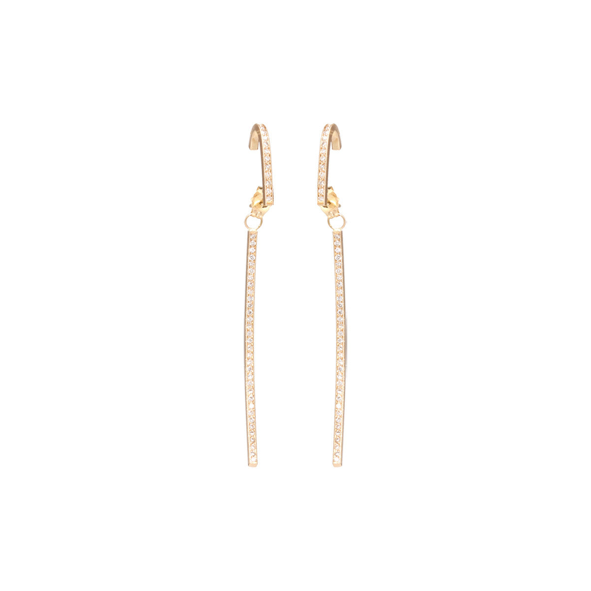 Zoë Chicco 14kt Yellow Gold White Diamond Pave Curved Bar Earrings