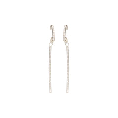 Zoë Chicco 14kt White Gold White Diamond Pave Curved Bar Earrings