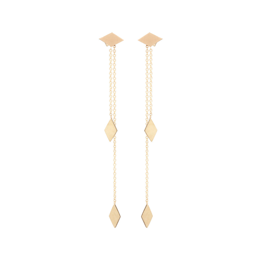 14k diamond shaped fringe front and back earrings