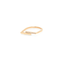 14k pave staggered bar ring