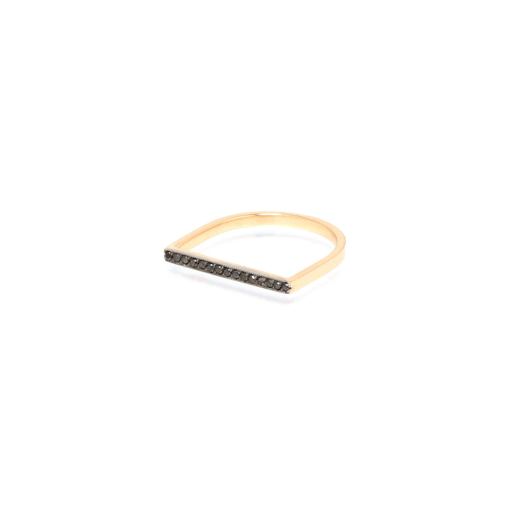14k flat top pave bar ring