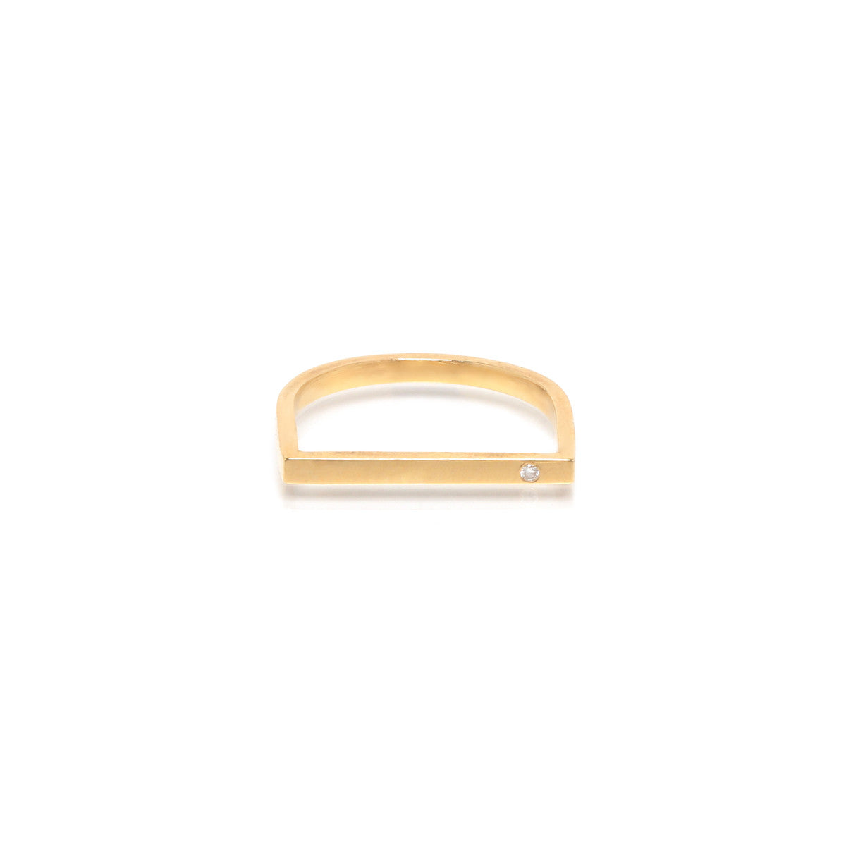 14k single diamond flat top bar ring