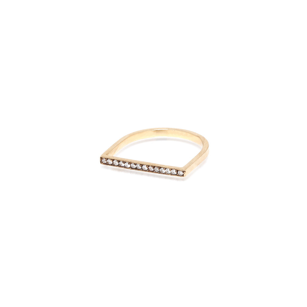 14k flat top oxidized pave ring