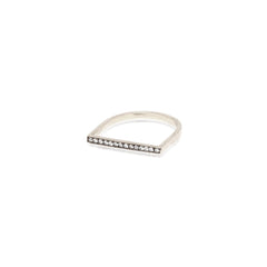 Zoë Chicco 14kt White Gold Flat Top Oxidized Diamond Pave Ring