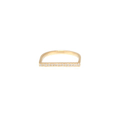 Zoë Chicco 14kt Yellow Gold Flat Top White Diamond Pave Bar Ring
