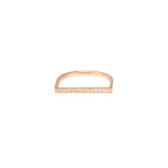 Zoë Chicco 14kt Rose Gold Flat Top White Diamond Pave Bar Ring