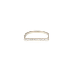Zoë Chicco 14kt White Gold Flat Top White Diamond Pave Bar Ring