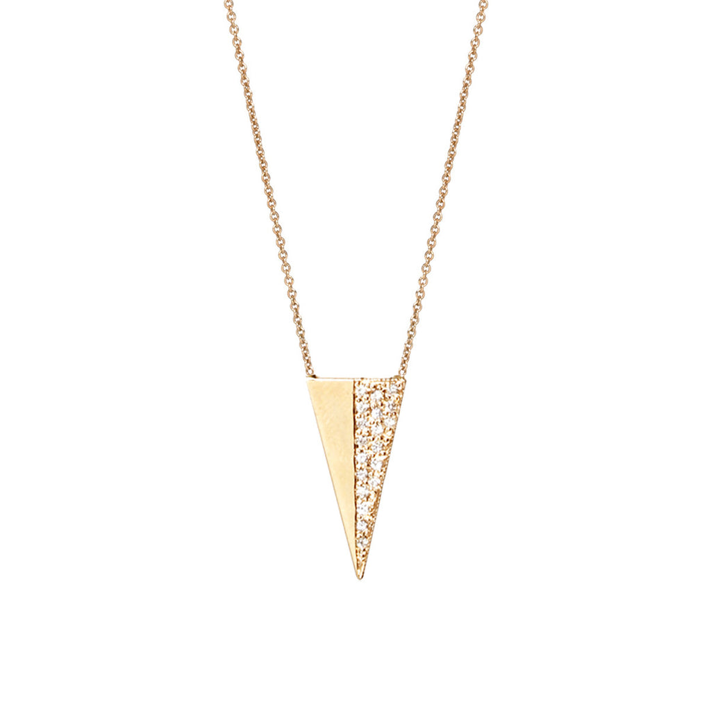 14k long flat triangle necklace