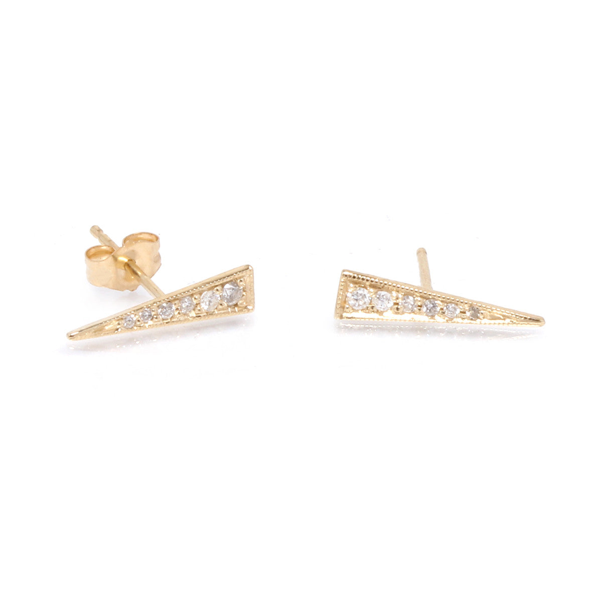 14k long pave triangle stud