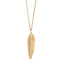 14k pave feather necklace