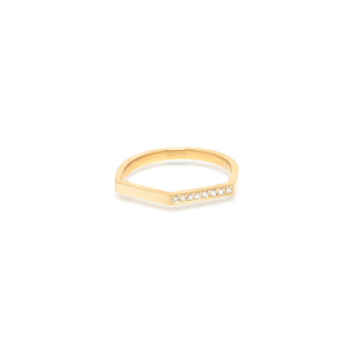 14k peaked pave bar ring