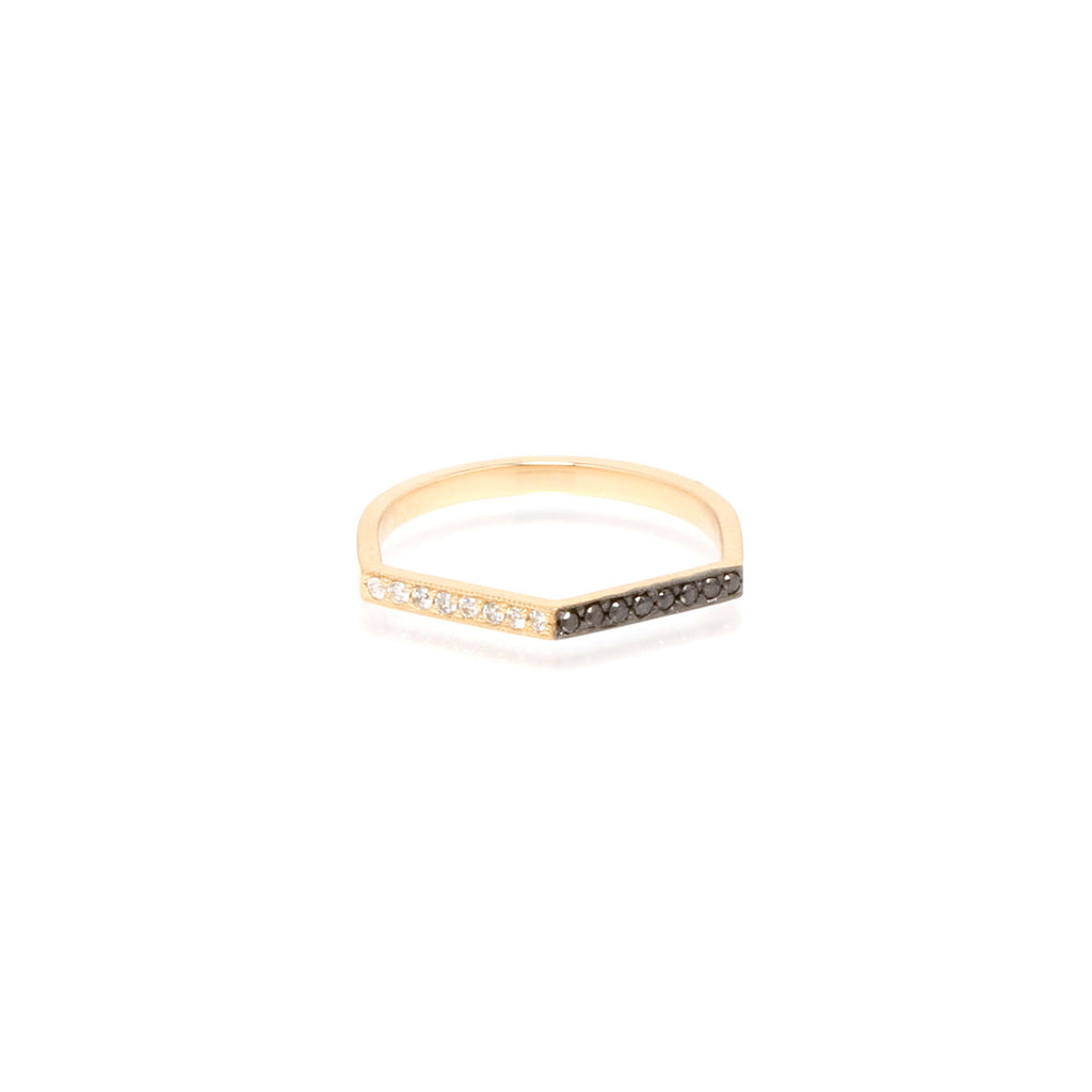 14k mixed pave peaked ring
