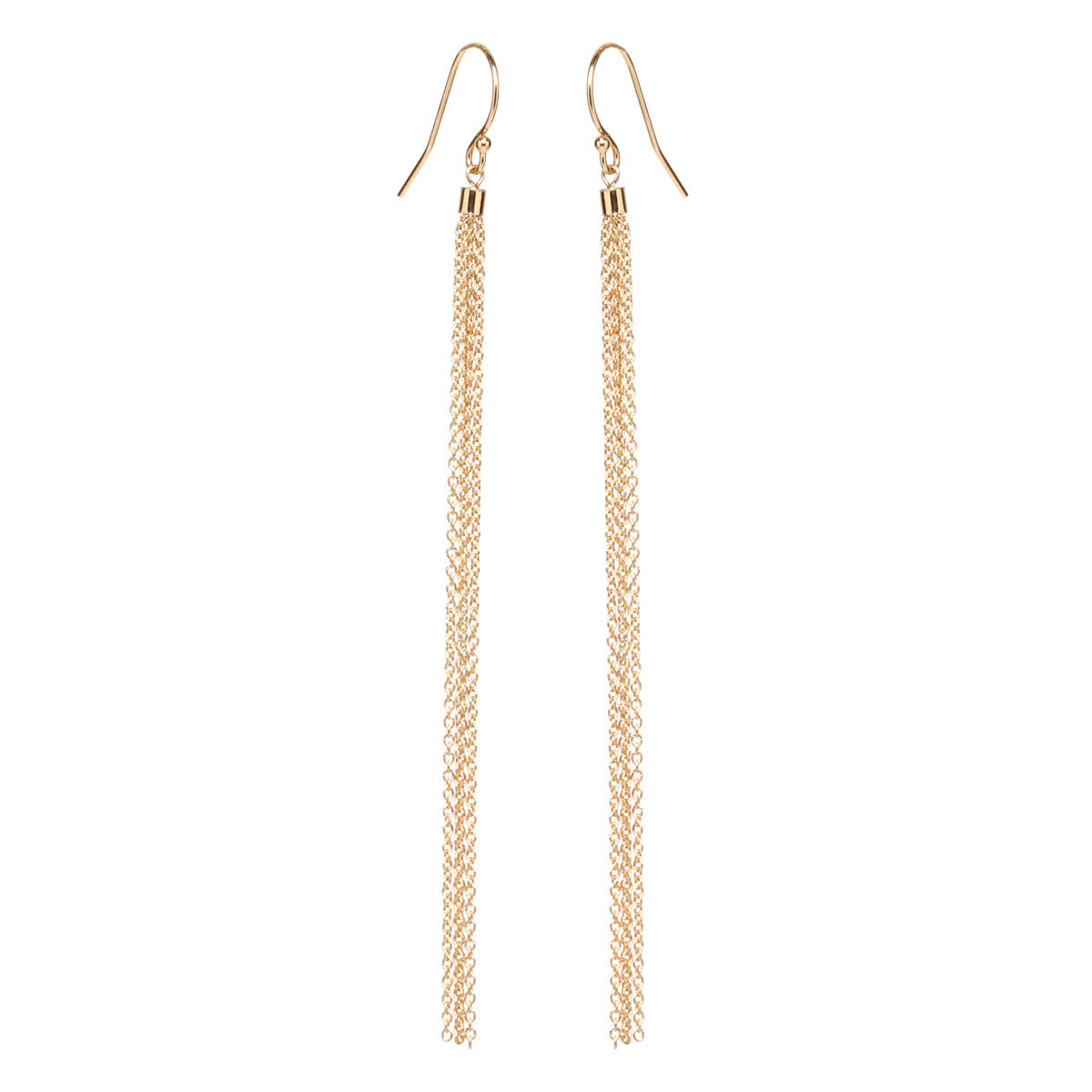 Zoë Chicco 14kt Yellow Gold Long Thin Tassel Earrings