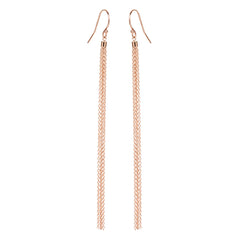 14k long thin tassel earrings