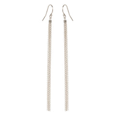 Zoë Chicco 14kt White Gold Long Thin Tassel Earrings