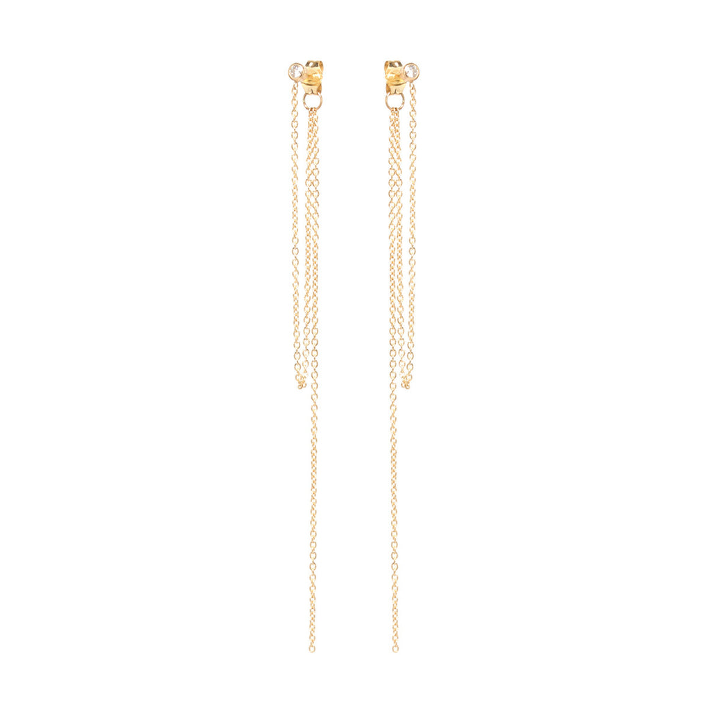 14k diamond stud chain fringe earrings