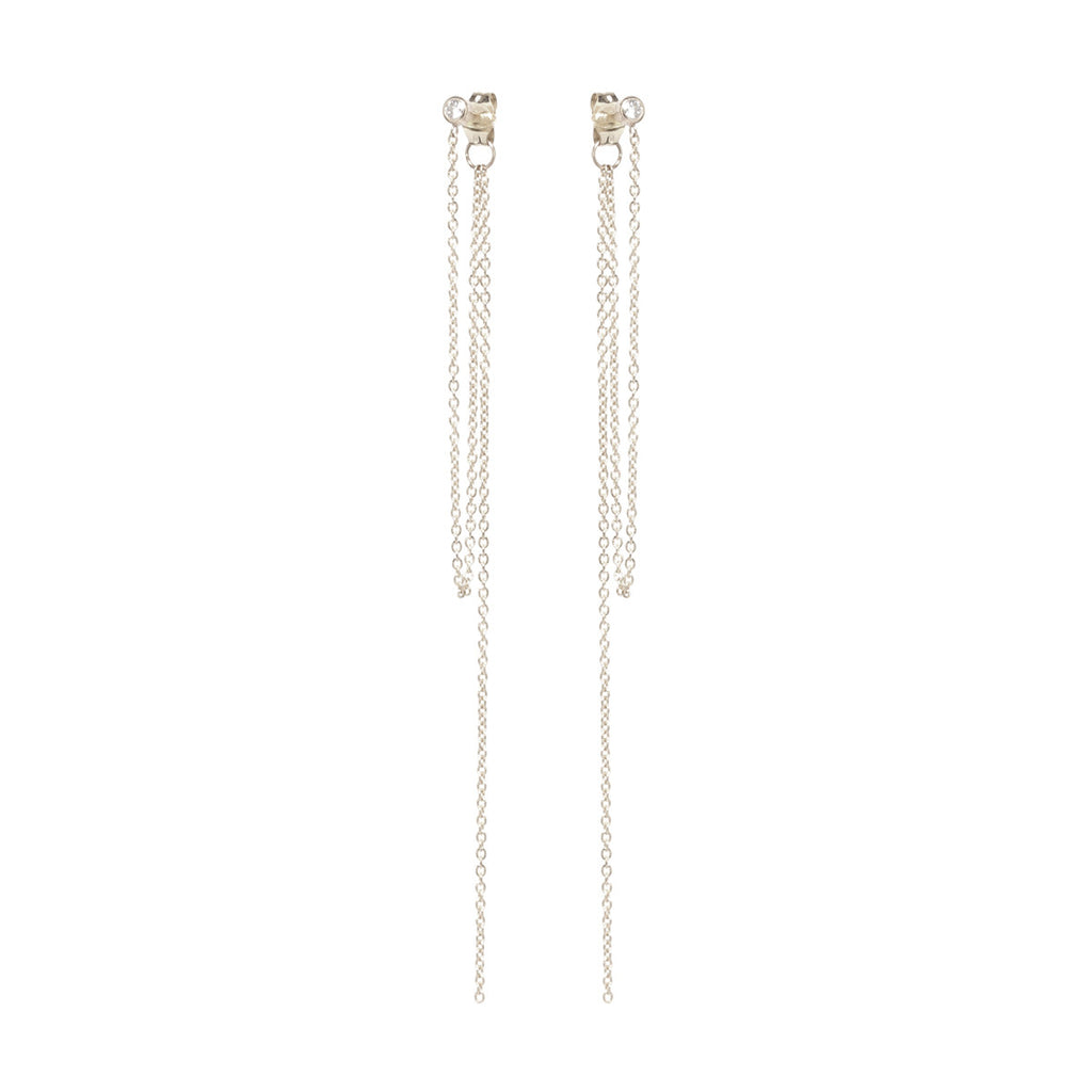 Zoë Chicco 14kt Yellow Gold White Diamond Stud Chain Fringe Earrings