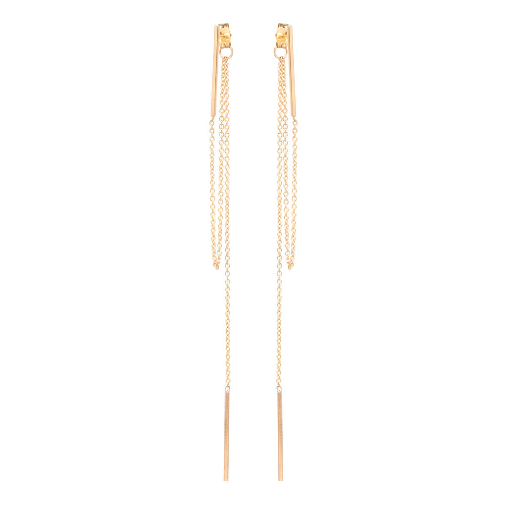 14k vertical bar chain fringe earrings