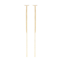 14k pave chain fringe front to back earrings