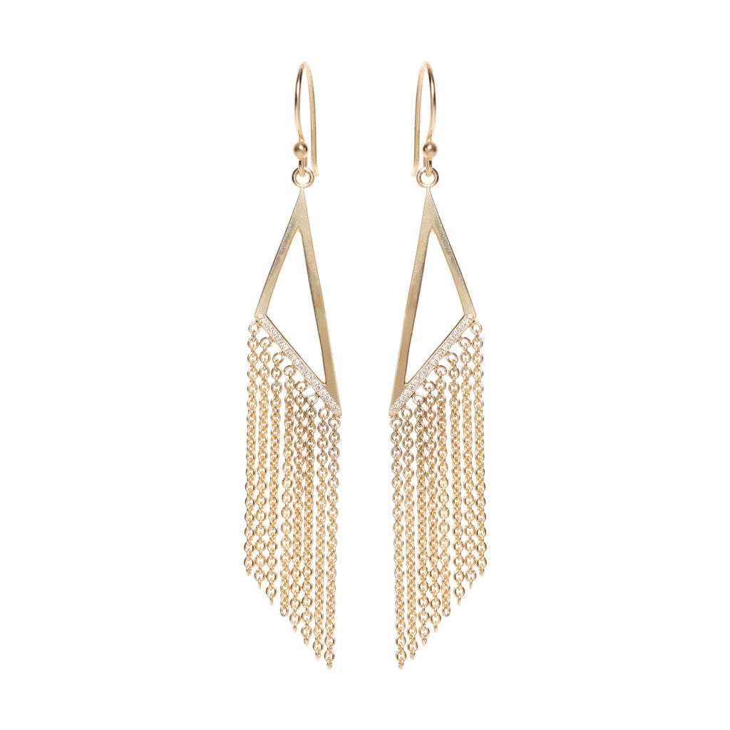 14k vertical triangle fringe earrings