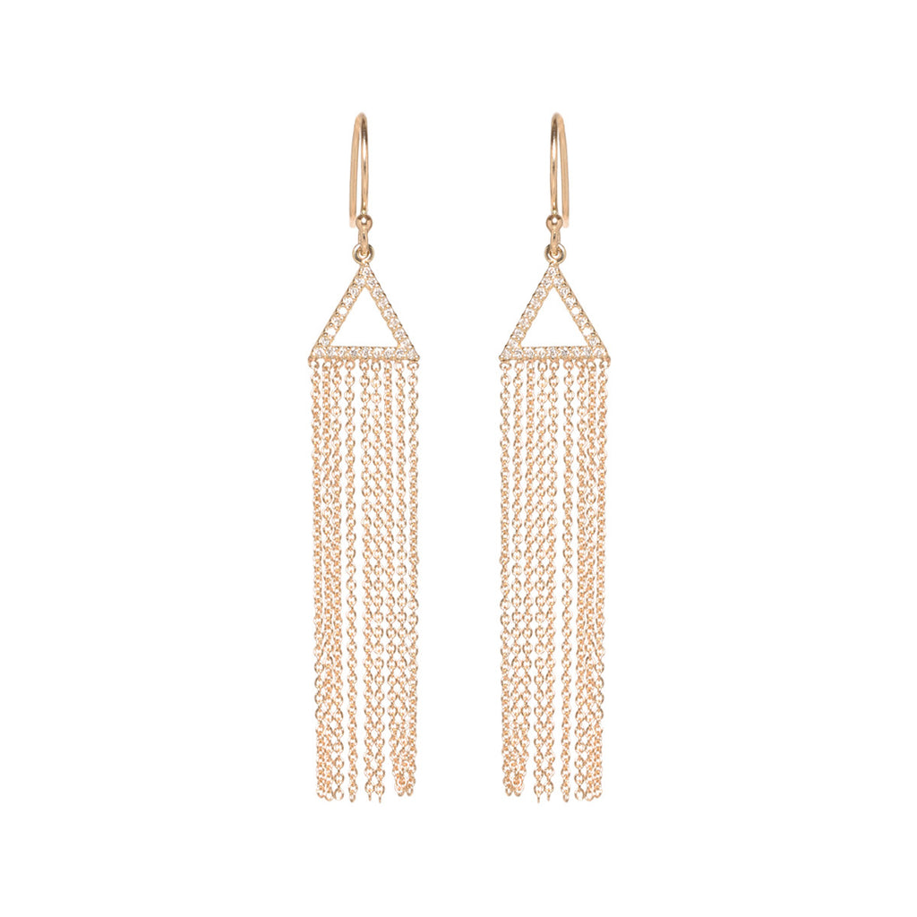 14k pave triangle fringe earrings