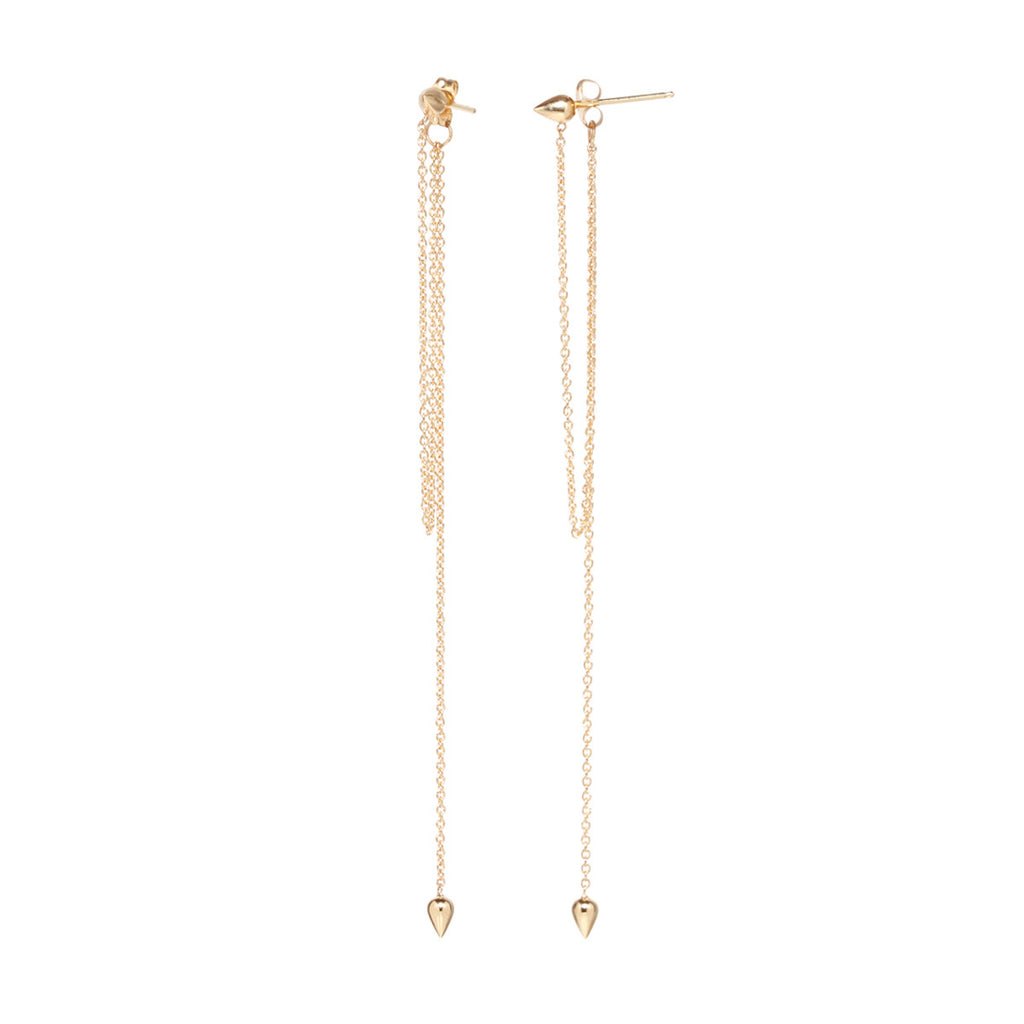 14k bullet fringe post earrings