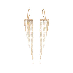 14k waterfall fringe bar earrings