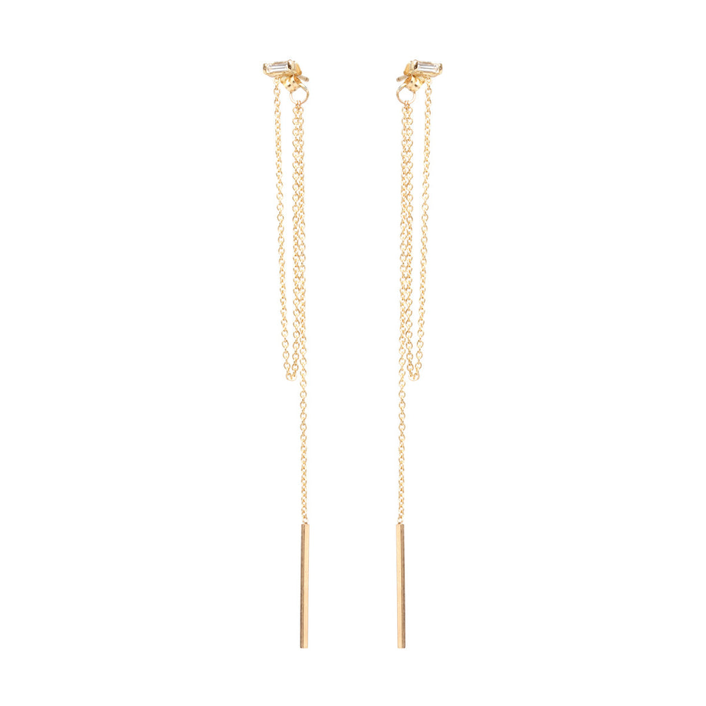 14k baguette chain fringe front to back earrings