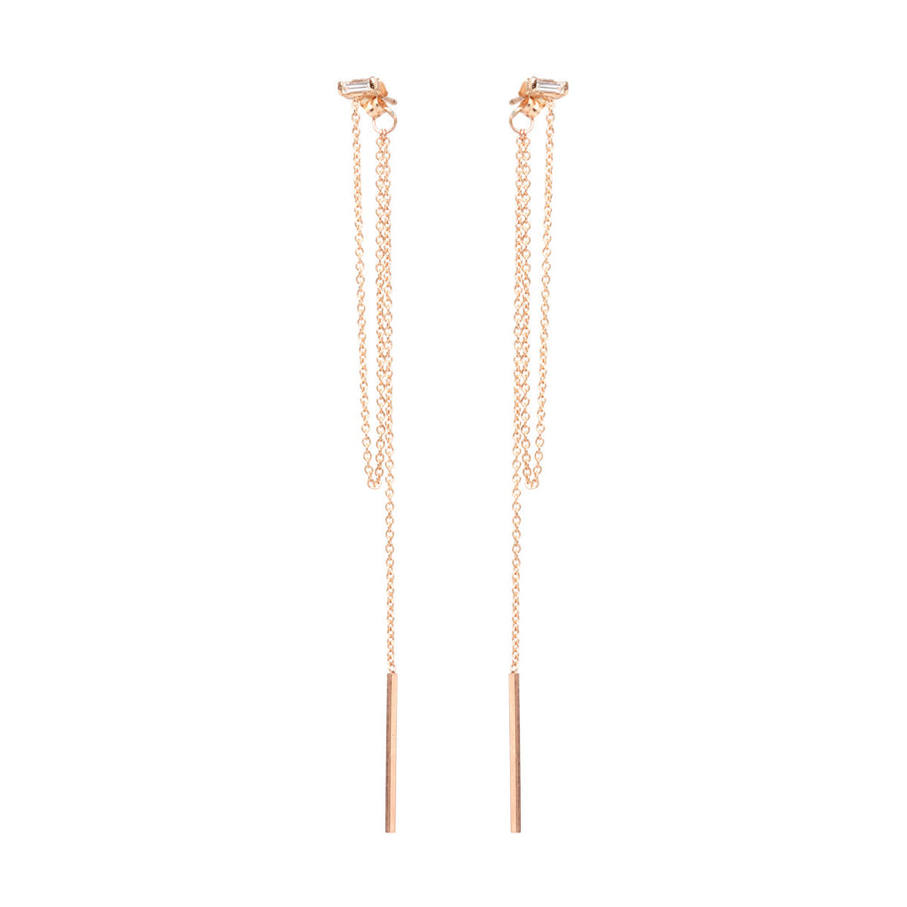 Zoë Chicco 14kt Yellow Gold Baguette Chain Fringe Front to Back Earrings