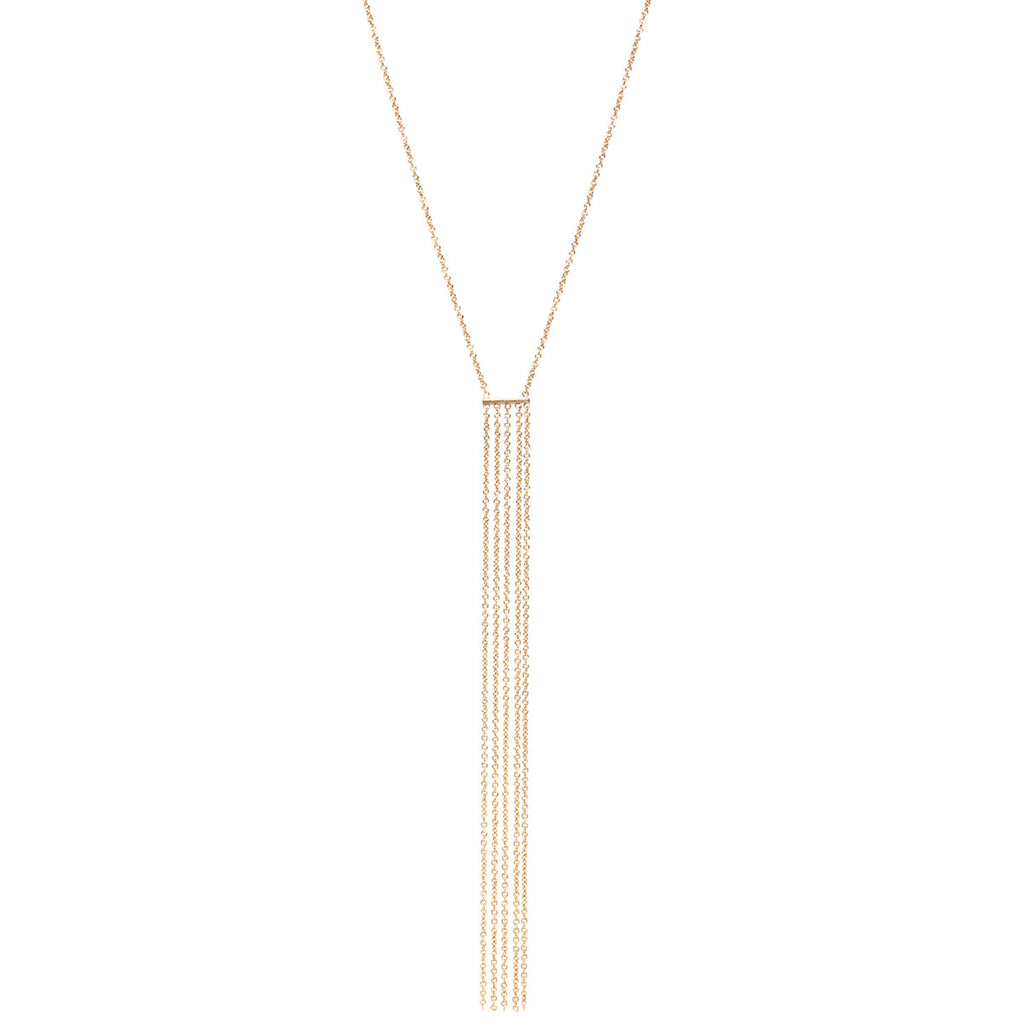 14k short fringe necklace