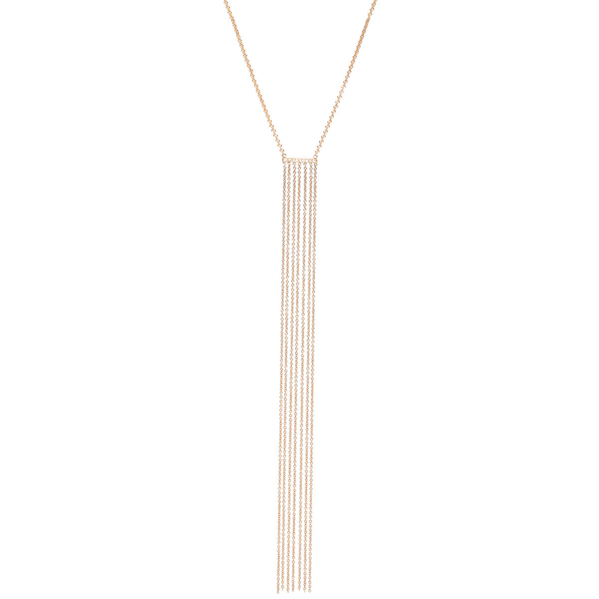14k mixed pave long fringe necklace