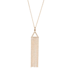 14k pave triangle fringe necklace
