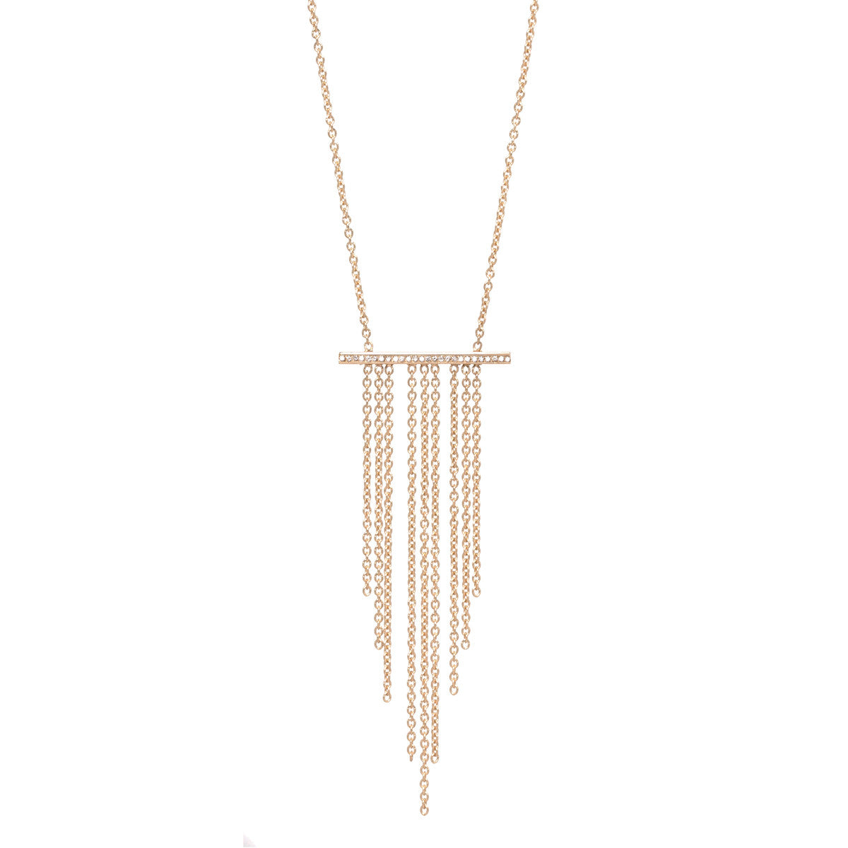 14k pave waterfall fringe necklace