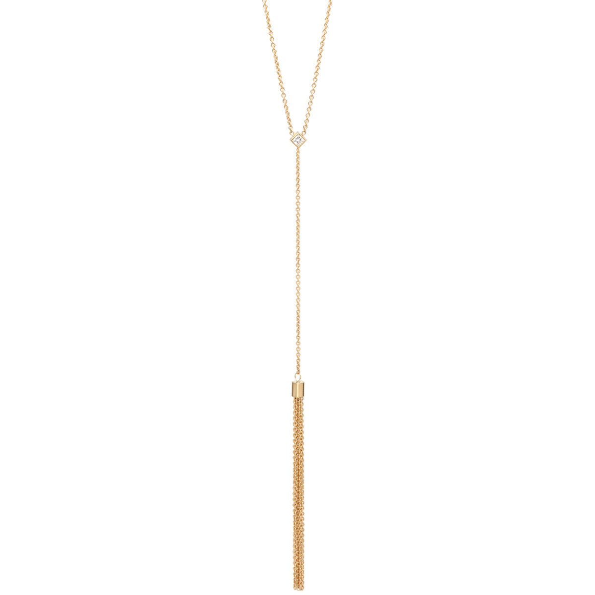 Zoë Chicco 14kt Yellow Gold White Princess Cut Diamond Tassel Necklace