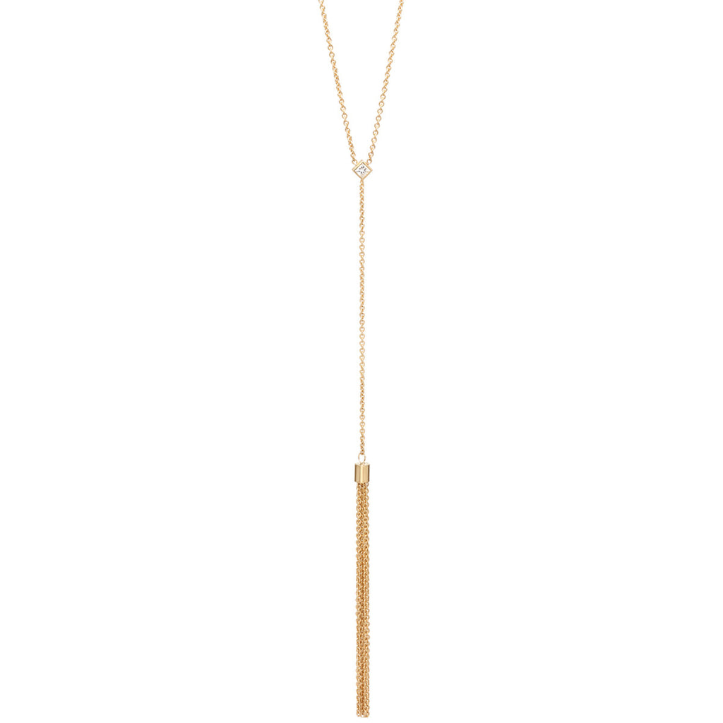 14k diamond tassel necklace
