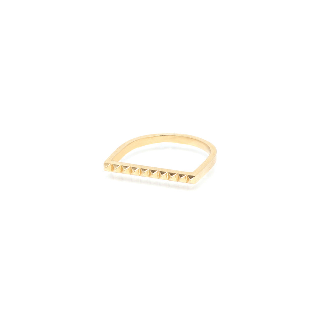 14k flat top spike ring