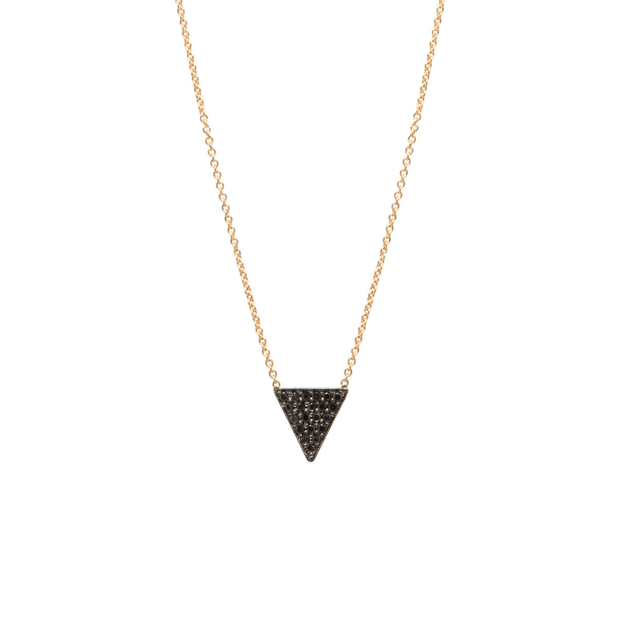 14k black pave small triangle necklace