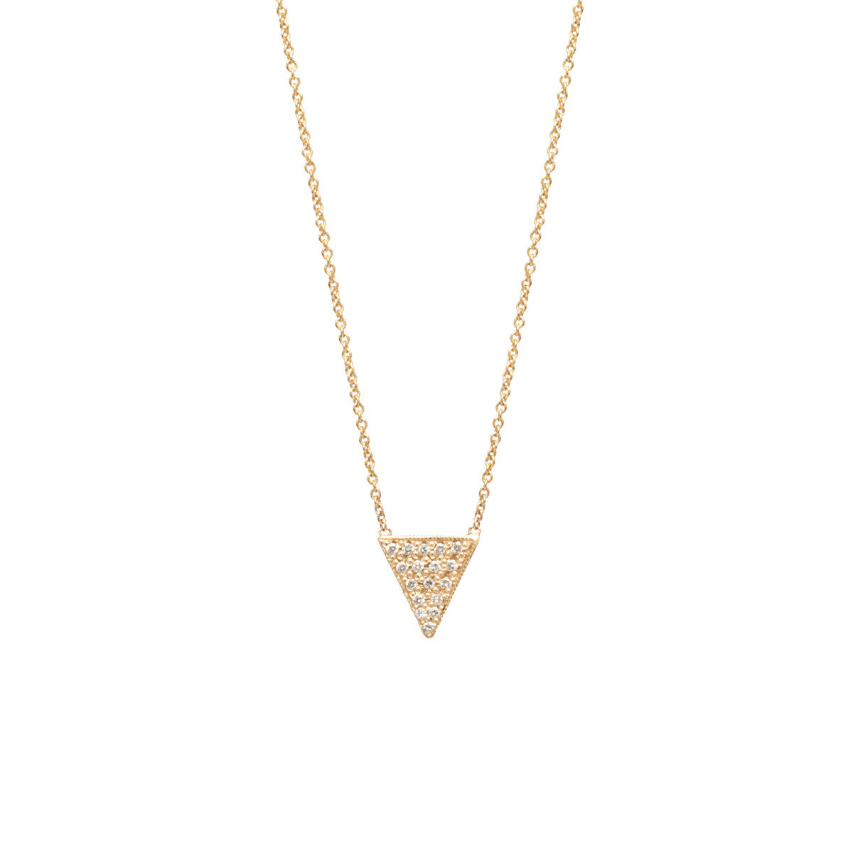 14k pave small triangle necklace