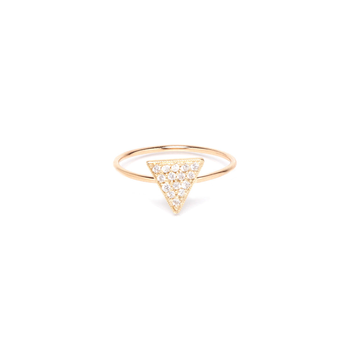 14k pave solid triangle ring