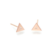 14k single diamond triangle studs